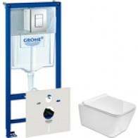 Комплект унитаза SSWW с инсталляцией Grohe, кнопкой, сиденьем микролифт (NC4441White, 38775001): купить недорого в интернет-магазине, низкие цены