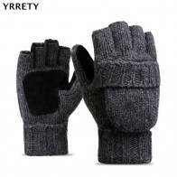 US $8.9 |YRRETY Unisex Plus Thick Male Fingerless Gloves Men Wool Winter Warm Exposed Finger Mittens Knitted Warm Flip Half Finger Gloves-in Men
