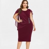 US $14.59 45% OFF|Wipalo Plus Size 5XL Capelet Knee Length Fitted Party Dress Women Sleeveless Scoop Neck Sheath Dress Rhinestone Overlay Vestidos-in Dresses from Women