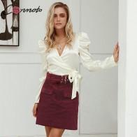 Conmoto Модные вельветовые юбки, короткая юбка с высокой талией, юбка для офиса, бордовая юбка с поясом, осень-зима 2019