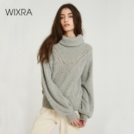 US $14.99 60% OFF|Wixra Oversized Sweaters 2019 Autumn Winter Female Solid Turtleneck Casual Hollow Out Knitted Sweater Pullovers Women