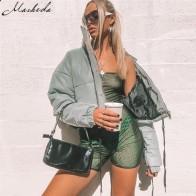 US $27.9 20% OFF|Macheda Women Fashion Winter Jackets Short Warm Coat Gray Color Reflective Short Jacket New Ladies Parka Winter Coats Outwear-in Parkas from Women