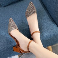 1447.1 руб. |Весенне летняя обувь, женские босоножки, клетчатые женские модельные туфли на высоком каблуке, туфли лодочки с ремешком на пятке, женские туфли с острым носком, zapatos mujer 6461-in Женские туфли from Туфли on Aliexpress.com | Alibaba Group