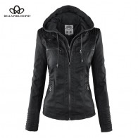 US $24.74 45% OFF|Bella Philosophy Women hoodies Winter Moto Jacket  Hot Turn Down Collor Ladies Outerwear faux leather PU female Jacket Coat-in Leather & Suede from Women