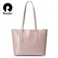 2369.38 руб. 60% СКИДКА|REALER модная сумка женская лакированная кожа,большая сумочка на плечо для женщин высокого качества,сумочка большого объёма 2018-in Сумки с ручками from Багаж и сумки on Aliexpress.com | Alibaba Group