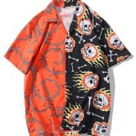 Мужская контрастная рубашка с пуговицами и принтом
