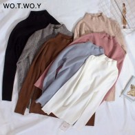 US $10.39 48% OFF WOTWOY 2019 Cashmere Knitted Women Sweater Pullovers Turtleneck Autumn Winter Basic Women Sweaters Korean Style Slim Fit Black-in Pullovers from Women