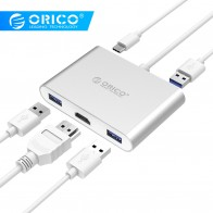 US $20.99 35% OFF|ORICO Aluminum HUB Type C to Type A / Type C / HDMI Converter Support PD Multi Function Laptop Station for MACbook PC-in USB Hubs from Computer & Office on Aliexpress.com | Alibaba Group