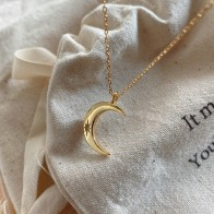 Silvology 925 Sterling Silver Moon Pendant Necklace Single Zircon Star Minimalist Elegant Necklace for Women Party Jewelry Charm