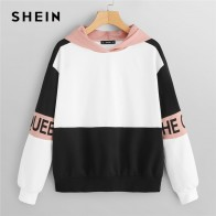 US $13.0 40% OFF|SHEIN Multicolor Elegant Color Block Letter Print Pullovers Hooded Sweatshirt 2018 Autumn Minimalist Women Sweatshirts-in Hoodies & Sweatshirts from Women