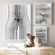 Сексуальная женщина абстрактная линия боди-арт поцелуй настенная живопись на холсте скандинавские плакаты и принты настенные картины для ... - Плакаты и постеры