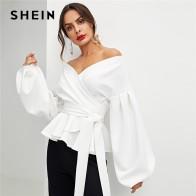 Шеин белый офисные женские туфли элегантный фонари рукавом Surplice баски с открытыми плечами однотонная блузка Осень пикантные для женщи купить на AliExpress