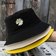 Verano margaritas sombrero con forma de cubo para mujer de algodón de los hombres de moda niño triste gorra chicas doble-cara daisy Bob sol mujer Floral Sombrero de Panamá