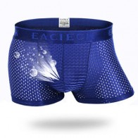 Mens Mesh Breathable Underwear Casual Ice Silk Thin Summer Solid Color Boxers