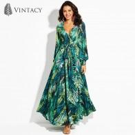 478.61 руб. 50% СКИДКА|Vintacy/женское Макси платье с цветочным принтом, v образным вырезом, растительным принтом, на шнуровке, длиной до щиколотки, летние платья, длинные, модные, для девочек, большие размеры, весна, зеленый-in Платья from Женская одежда on Aliexpress.com | Alibaba Group