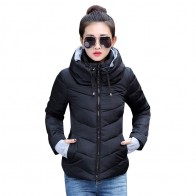 US $15.84 64% OFF|2019 Winter Jacket women Plus Size Womens Parkas Thicken Outerwear solid hooded Coats Short Female Slim Cotton padded basic tops-in Basic Jackets from Women