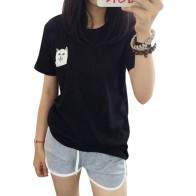 374.83 руб. |Женская Футболка 2015, летняя стильная футболка с принтом, средний палец, карман, кошка, Harajuku, круглый вырез, короткий рукав, хлопок, пара футболок, большие размеры купить на AliExpress