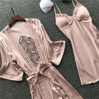 2019 Women Robe & Gown Sets Sexy Lace Sleep Lounge Pijama Long Sleeve Ladies Nightwear Bathrobe Night Dress With Chest Pads - Одежда для дома