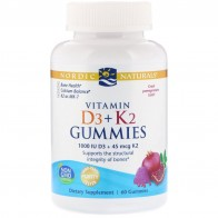 Nordic Naturals, Vitamin D3 + K2 Gummies, Pomegranate, 60 Gummies - Vitamin D