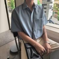 EWQ/Мужская одежда, летняя Однотонная рубашка с коротким рукавом, 2020, новая свободная корейская мода, красивый повседневный льняной Топ, улич... - Рубашки