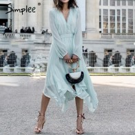 US $21.84 43% OFF|Simplee Elegant mint green dress women Long sleeve chiffon dresses summer Korean style casual pompon plus size vestidos 2019-in Dresses from Women