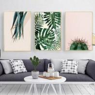 Кактус растительные постеры печати на холсте и печать настенные картины для гостиной настенная живопись на холсте Cuadros Decoracion без рамки - Тропический принт