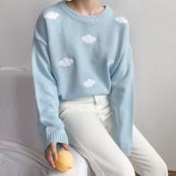 979.46руб. 17% СКИДКА|2019 женский свитер Kawaii Ulzzang в винтажном стиле для колледжа, свободный свитер с облаками, женский корейский панк толстый милый свободный свитер Harajuku, одежда для женщин-in Пуловеры from Женская одежда on AliExpress - 11.11_Double 11_Singles
