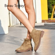 US $59.95 50% OFF|BeauToday Ankle Boots Women Brogue Style Genuine Leather Pigskin Suede Handmade Lace Up Brand Lady Fashion Shoes 04017-in Ankle Boots from Shoes on Aliexpress.com | Alibaba Group