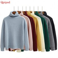 US $13.48 50% OFF|Women Sweater & Pullover 2018 Autumn Women Solid Color Turtleneck Loose Thicken Retro Sweater Female Knitted Jumper And Pullover-in Pullovers from Women