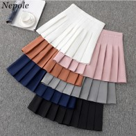 US $10.57 10% OFF|Neploe Solid Pleatd A Line Ruched Skirt Casual Simple Fashion Chic Jupe 2019 Spring Auttum Vintage Office Lady Chic Bottom 69622-in Skirts from Women