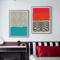 Современные разноцветные абстрактные геометрические настенные картины на холсте, плакаты и принты, Детская галерея, кухня, домашний декор