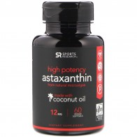 Sports Research, Astaxanthin Made With Coconut Oil, High Potency, 12 mg, 60 Veggie Softgels