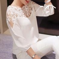 Новые женские девушка Для женщин 3 \ 4 рукавом Кружева полые Повседневное Шифоновая Блузка Топы S4 купить на AliExpress