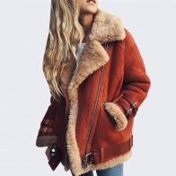 Овечьей шерсти Искусственная кожа куртка плюс Размеры женские теплые пальто с лацканами зимняя женская обувь на застежке молнии мех замша кожаные байкерские куртки Abrigos Mujer купить на AliExpress