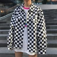 Большие размеры женские осенние японские Harajuku клетчатые тонкие куртки однобортные куртки повседневные Turn Down Воротник принт пальто с надписью купить на AliExpress