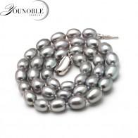 818.56 руб. 40% СКИДКА|8 9 мм натуральный пресноводный жемчуг ожерелье одинарное ожерелье для женщин хорошая блестящая жемчужина бисерный чокер Оптовая Серый Свадебный купить на AliExpress