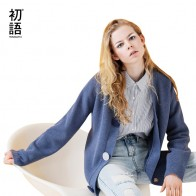 Toyouth Cardigan Women Solid Long Sleeve Blue Sweater Casual V-Neck Knitted Sweaters Single-Breasted Pull Femme Outerwear Coat
