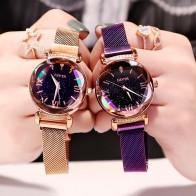 US $3.64 27% OFF|Luxury Women Watches Fashion Elegant Magnet Buckle Vibrato Purple Ladies Wristwatch 2019 New Starry Sky Roman Numeral Gift Clock-in Women
