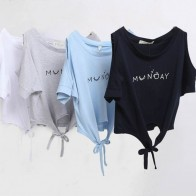 US $4.57 11% OFF|Women Clothes Summer T shirt Elegant Letter Shoulder Off Print Crop Top Short Sleeve O neck Shirt Loose Tops-in T-Shirts from Women