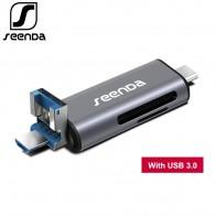 339.5 руб. 40% СКИДКА|SeenDa все в 1 USB 3,0 смарт кардридер высокая скорость TF Micro SD считыватель карт OTG Тип C устройство для чтения карт памяти Micro USB SD адаптер купить на AliExpress