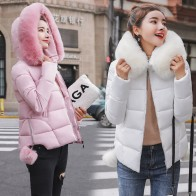 US $19.63 |2018 Winter Jacket Women Cotton down jacket Coat Fur Collar Hood Parka Female short Jackets Thick Warm Outerwear hooded  coat-in Parkas from Women