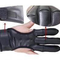 711.5 руб. 5% СКИДКА|Хорошее качество Новый 3 Перчатки Пальцев кожа в черные высокие эластичные защита рук стрельба из лука защитные перчатки для охоты съемки купить на AliExpress