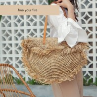 Bohemian Round Tassel Women Straw Bag Designer Spike Paper Rattan Shoulder Bags Large Casual Handbags Summer Beach Woven Purses - Плетеные сумки на лето