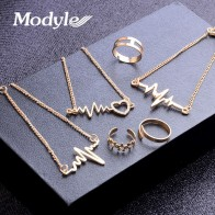 US $1.99 40% OFF|Modyle 2018 New 6pcs/set Gold Color Heartbeat Pendant Necklace Open Ring Jewelry Set for Woman-in Jewelry Sets from Jewelry & Accessories on Aliexpress.com | Alibaba Group