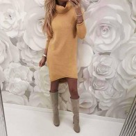 US $12.59 30% OFF|2018 Autumn Winter Women Knitted Sweater Dresses Turtleneck Bodycon Slim Jumper Vestido Long Causal Pullover WS5260C-in Dresses from Women
