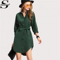 984.84 руб. 45% СКИДКА|Sheinside зеленое платье рубашка женское платье с воротником стойкой 3/4 рукав с поясом асимметричное короткое платье Летнее офисное платье для работы-in Платья from Женская одежда on Aliexpress.com | Alibaba Group