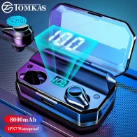TOMKAS 8000mAh TWS Earphones 9D Stereo Bluetooth 5.0 Wireless Earphones IPX7 Waterproof Headphone LED Display with Mic Touch Key