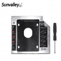 186.23 руб. 20% СКИДКА|Sunvalley 12,7 мм Алюминиевый металлический материал 2nd HDD Caddy SATA на SATA 2,5