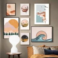 Абстрактный пейзаж, Раскрашивание на холсте в горном море, море, лес, скандинавские постеры и принты, настенные картины для декора гостиной - Красивые постеры в ваш дом