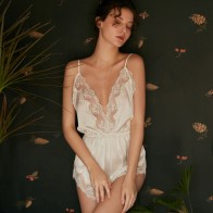 Pink and White Comfortable Sexy Ice Silk Sling Deep V Home Service Female Sleep Wear Lace One-piece Pajamas Bodysuit Women